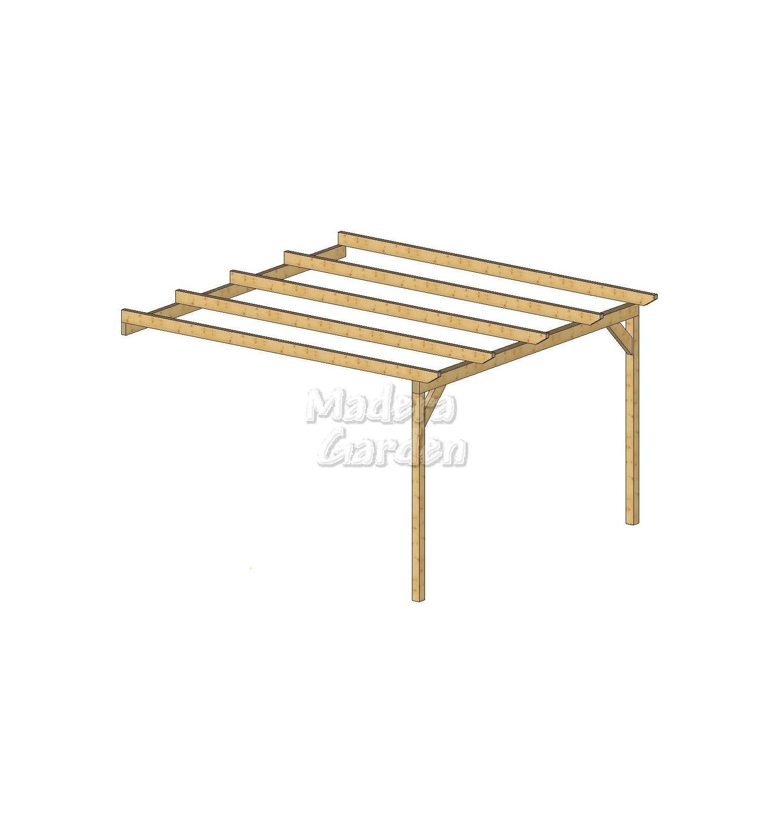 P rgolas de madera adosadas planas madera garden - Pergolas de madera en kit ...