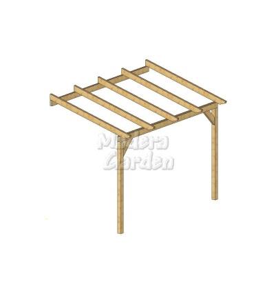 Pérgolas de madera adosadas con inclinación