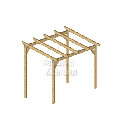 Pérgolas de madera autoportantes con inclinación