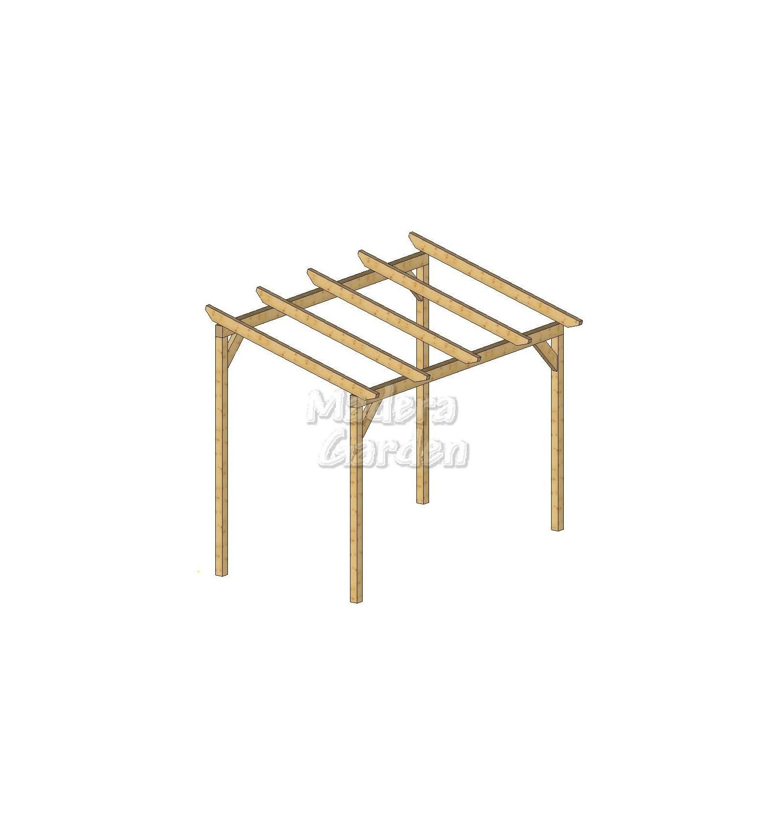 P rgolas de madea autoportantes con inclinacion madera garden - Pergolas de madera en kit ...