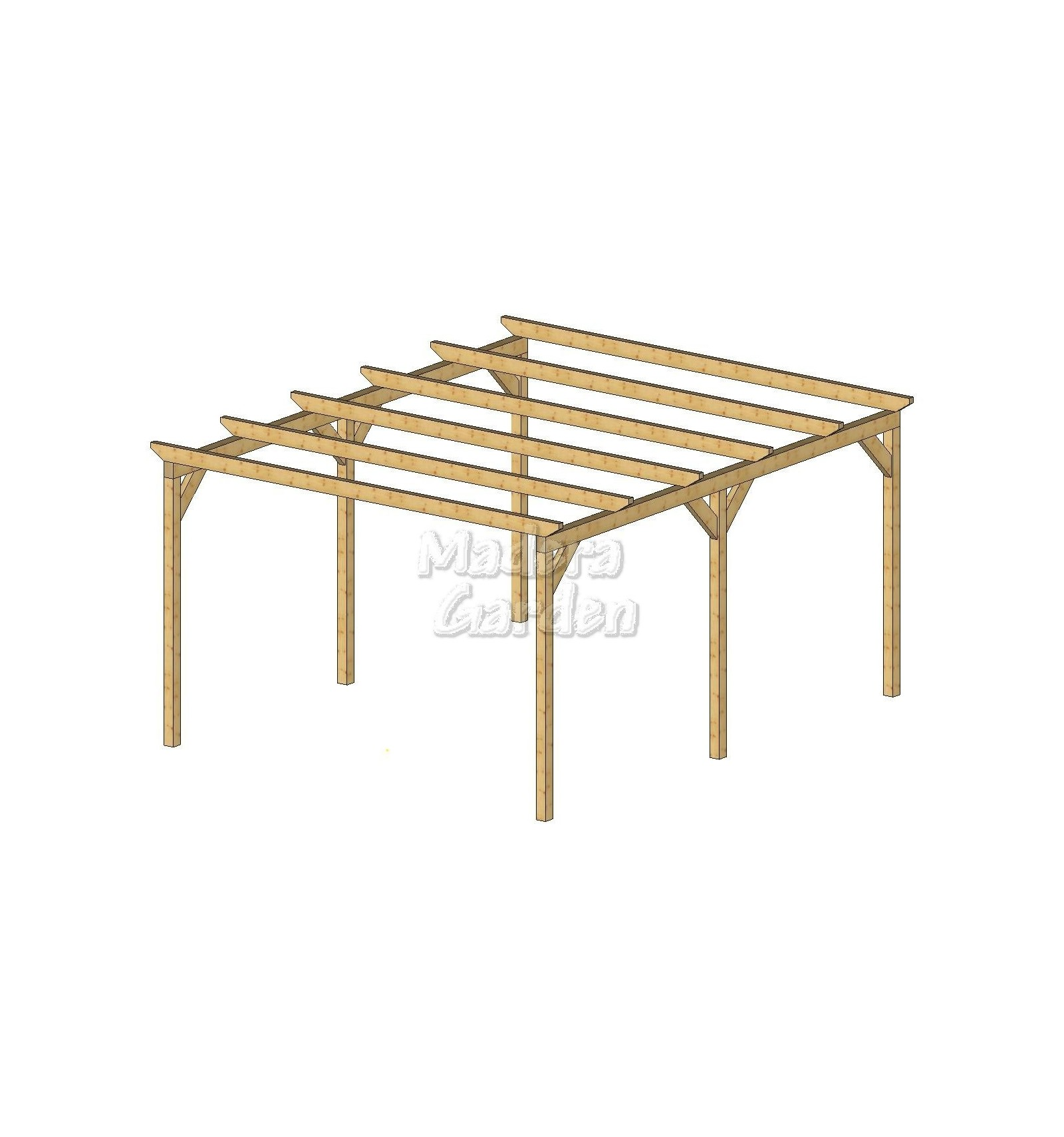 P rgolas de madera autoportantes planas madera garden - Pergolas de madera en kit ...
