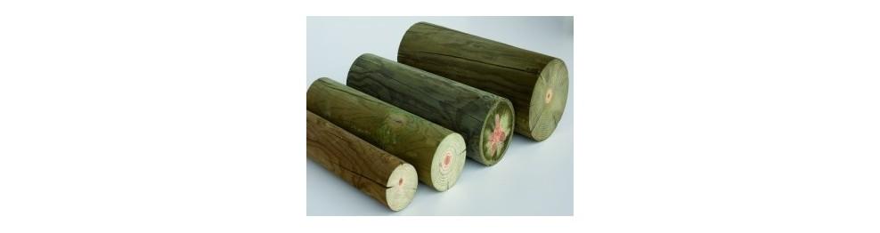 Rollizos cilíndricos madera tratada Autoclave - Riesgo 4